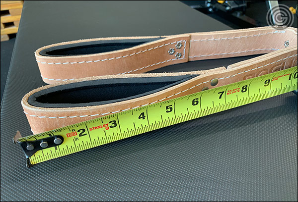 The Pioneer Leather Tricep Strap has a relatively small opening for the hands