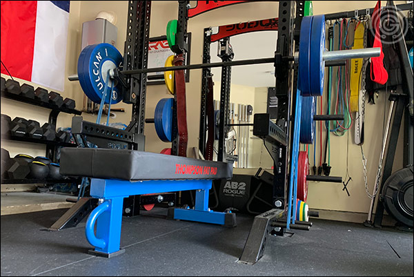 Bench pressing with the Vulcan Elite Power Bar