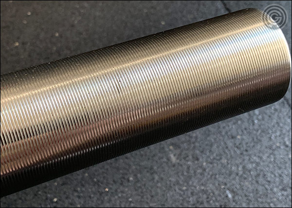 Grooved, Stainless Steel Sleeves of the Vulcan Absolute SS Olympic Bar