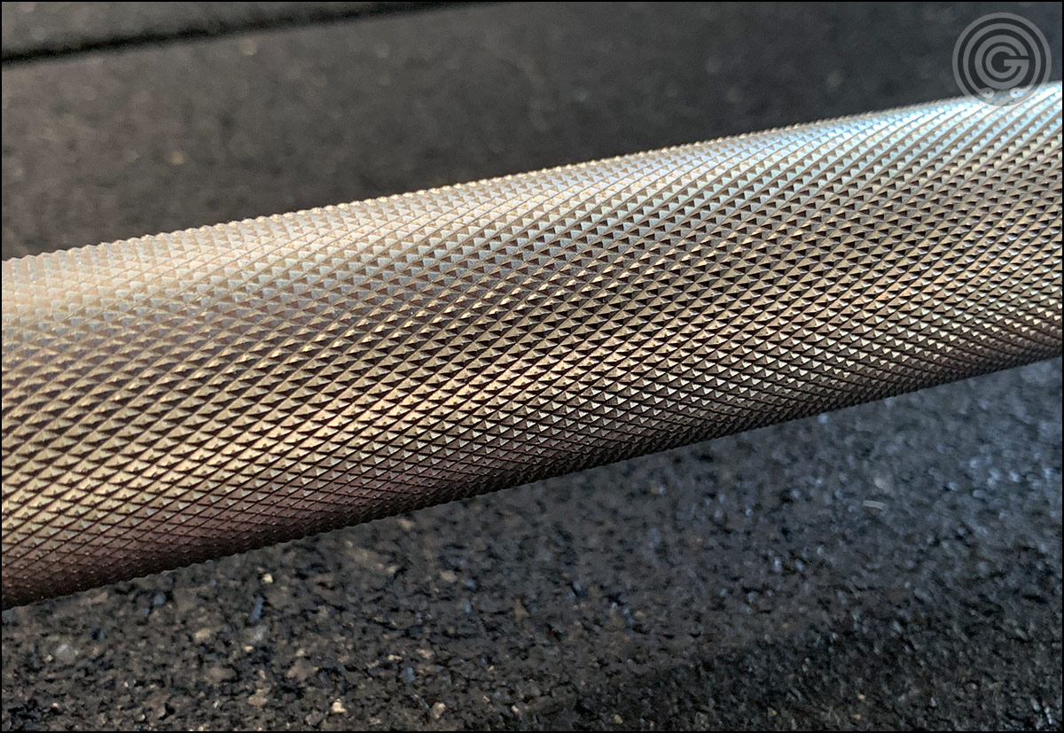 Vulcan Absolute Stainless Steel Olympic WL Bar - Knurling close-up