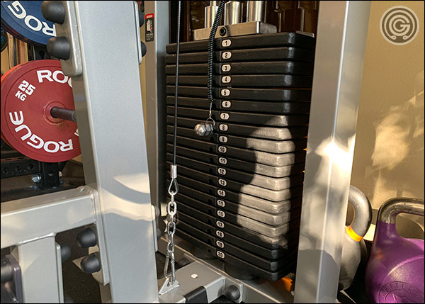 The 300-pound weight stack of the Body Solid SLM300G/3 Lat Machine