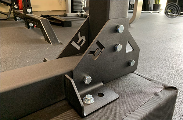 "Large 3/8"" gussets are used to attach the three major components of the Rogue Monster Utility Bench 2.0"