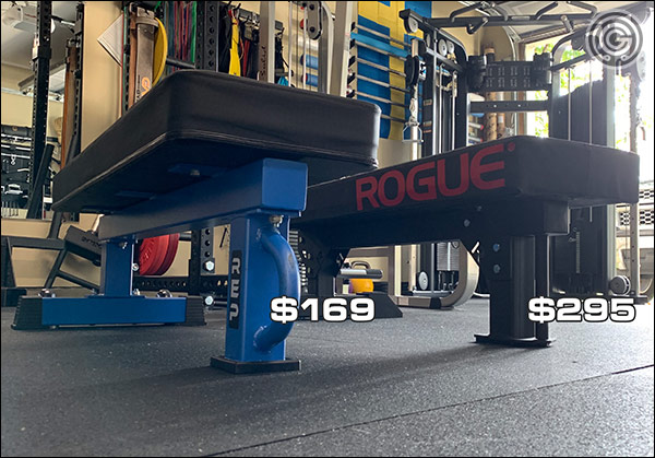 Rogue Fitness Monster Utility Bench 2.0 pricing versus the FB-5000 with Wide Pad