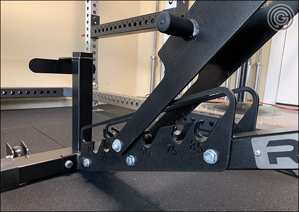 The Rep AB-5200 has a caged ladder that makes the bench much easier to use and store