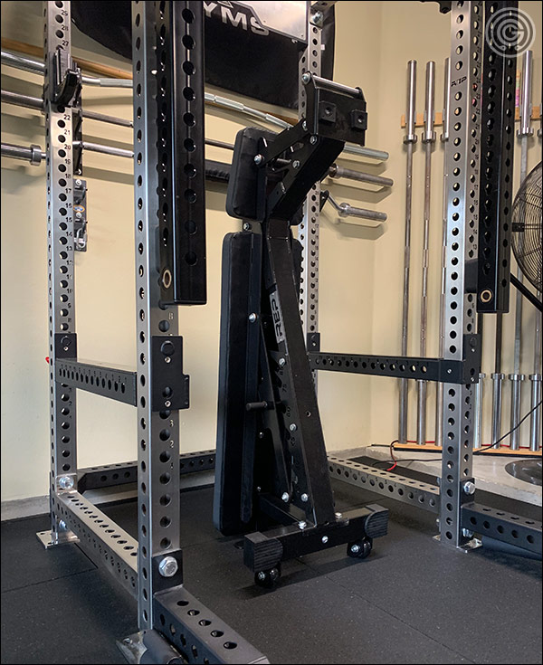 Rep Fitness AB-5200 with caged ladder can stand on its end unlike other ladder benches