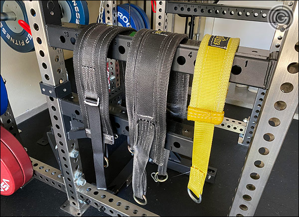 The belts I've tested with the Rep Belt Squat - the belt on the right is the adjustable belt, and it worked the best for me