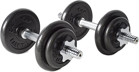 An example of spinlock-style adjustable dumbbells. No thanks!