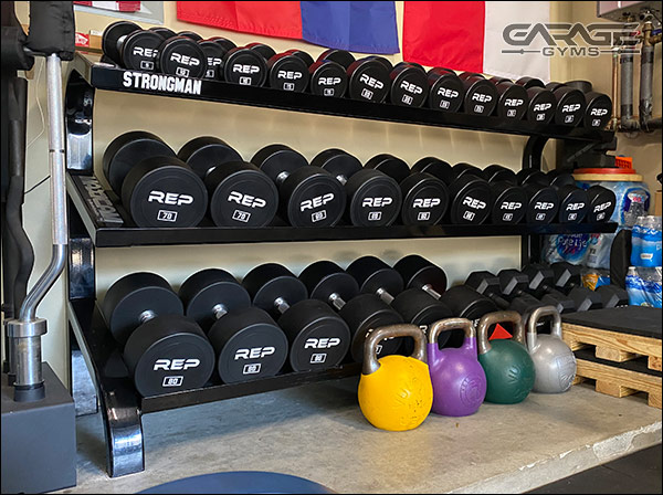 Full set of fixed-weight, urethane dumbbells by REP