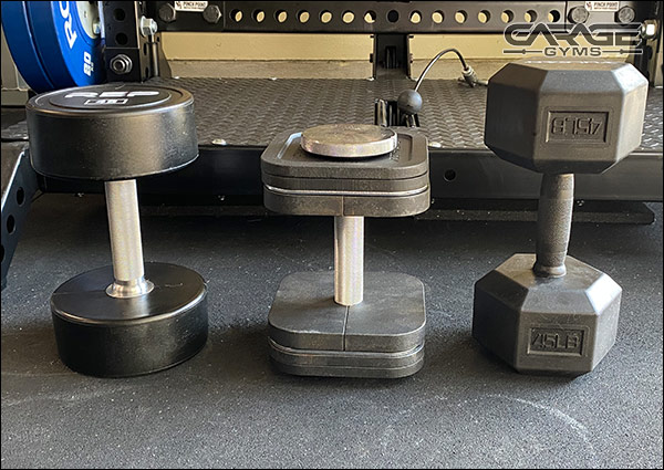 These are all 45-lb dumbbells. Look how compact the Ironmaster Quick Locks are by comparison